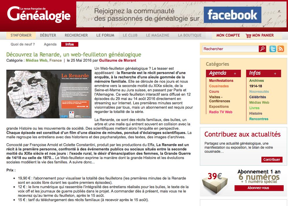 La revue française de généalogie pense à nous !